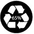 anneau de Moebius avec la mention « 65% » =  le produit est composé d'au moins 65% de matières recyclées.