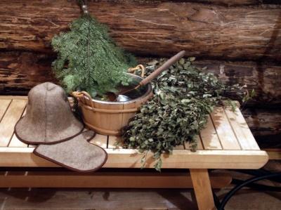 bonnet et gants pour sauna